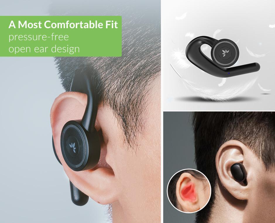 Avantree Wireless Open-Ear Stereo Headphones with Build-in DSP, Charing Dock & Surrounding Awareness